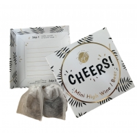 Kaart en cadeau in een luxe doosje - Mini high wine/beer - cheers (6 st)