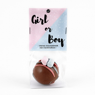 Chocolate bomb with marshmallows - Gender reveal boy (6 st)